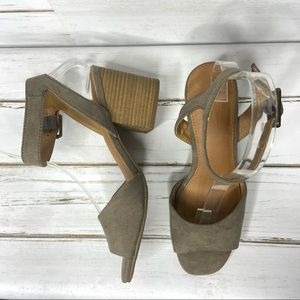 Universal Thread Taupe Faux Suede Heel Sandal 7